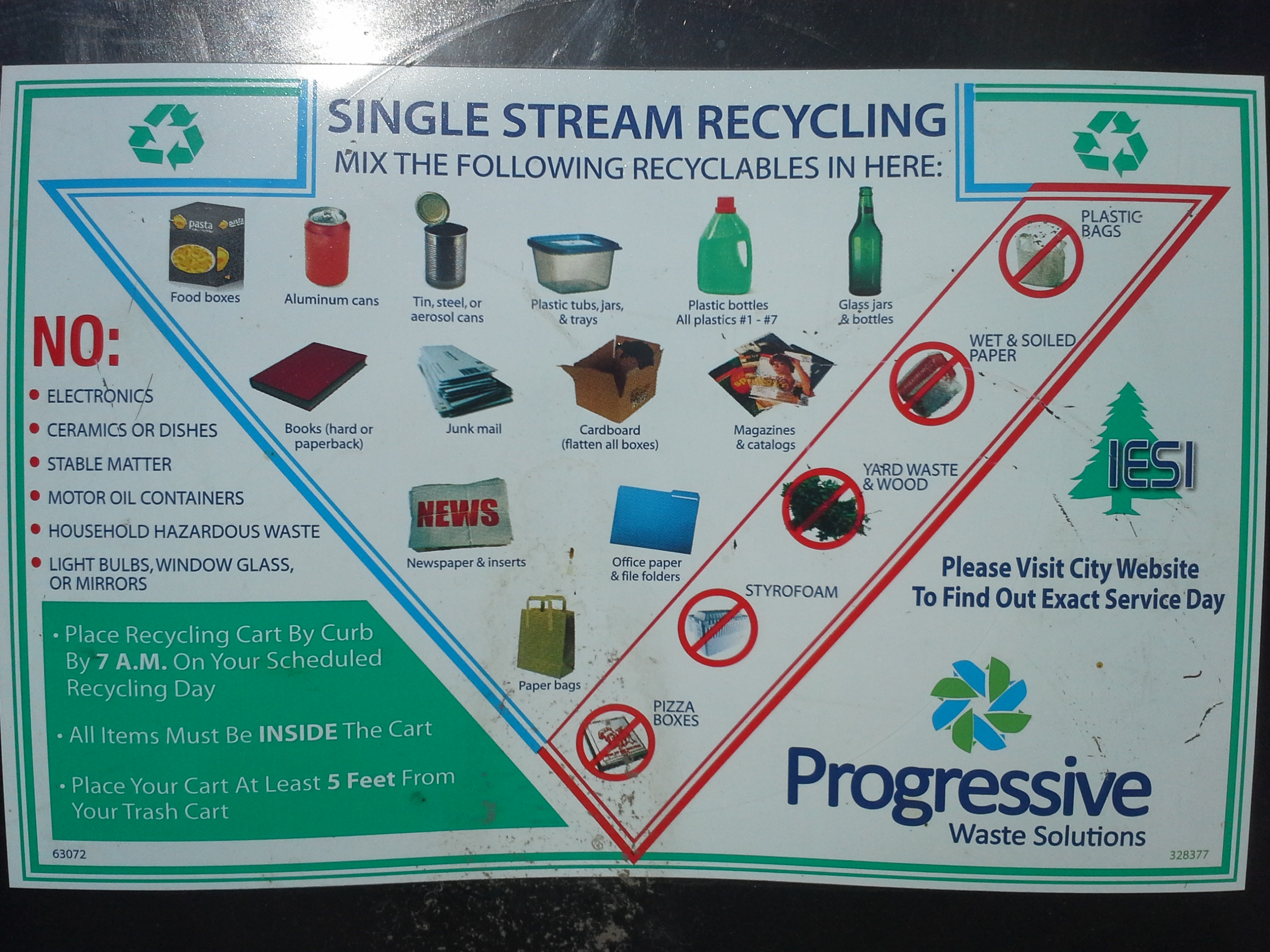 Information on recycling, including items that can and cannot be recycled