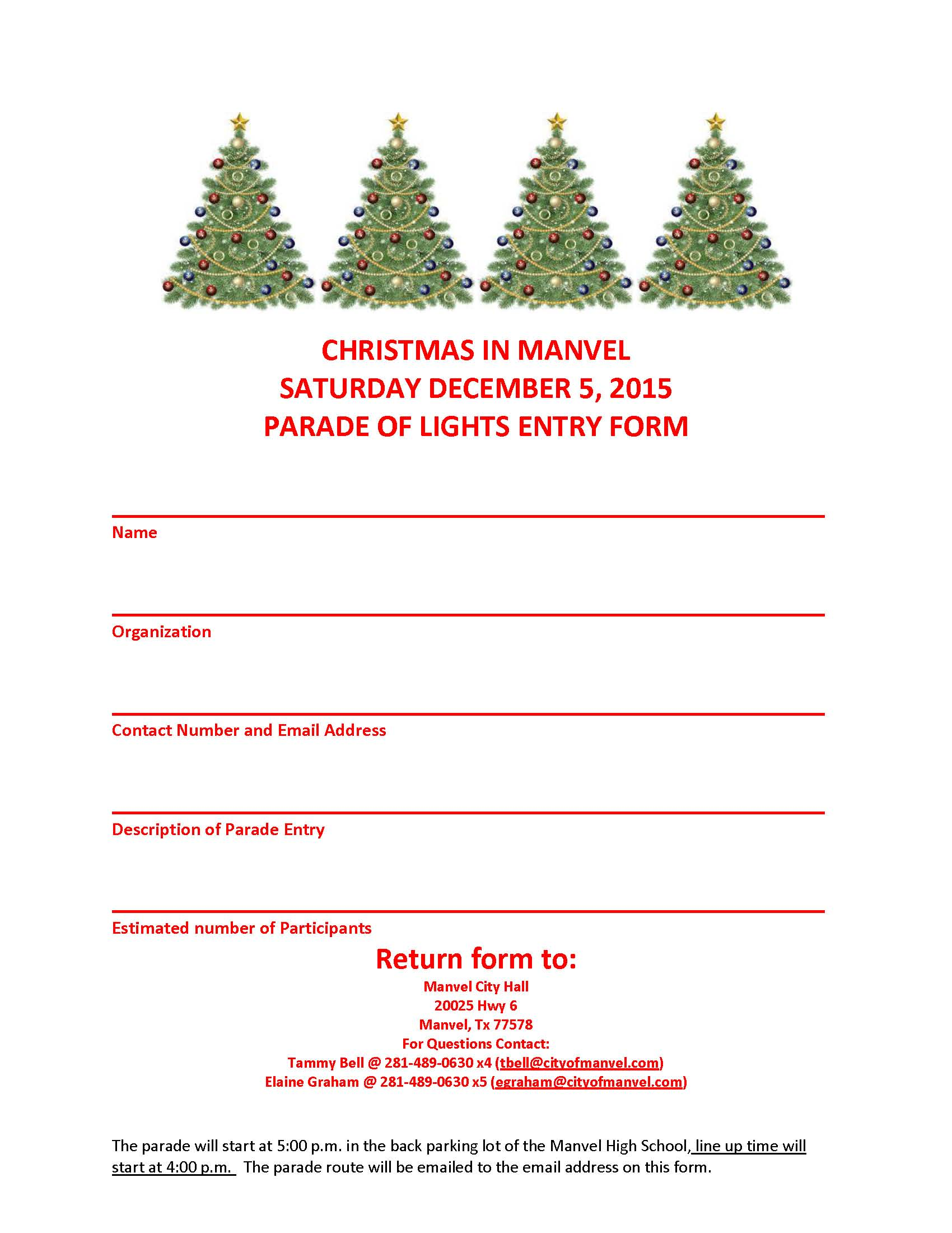 CHRISTMAS IN MANVEL PARADE FORM 2015